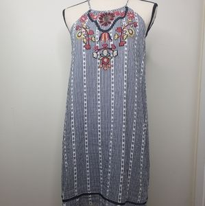 THML embroidered front halter style dress